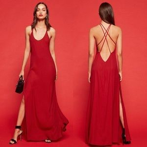 NWT Reformation Miguel Dress in Cherry